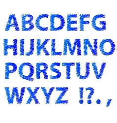 Blue sketch alphabet vector