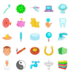 care of teeth icons set cartoon style vector image