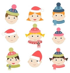 Children with winter clothing vector