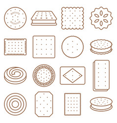Cookie cracker and biscuit outline icon set 2 vector