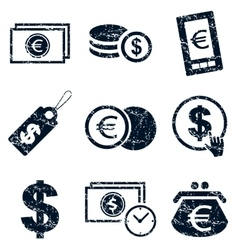 Currency icons set grunge vector