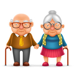 cute smile happy elderly couple old man love woman vector image
