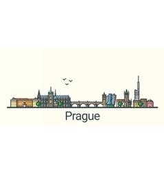 Flat line Prague banner vector image