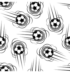 Flying football or soccer balls seamless pattern vector
