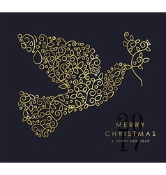 Gold christmas and new year ornamental dove bird vector