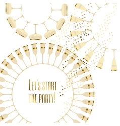 Gold sparkling wine concept card vector