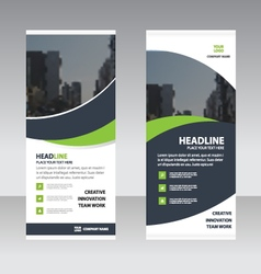 Green curve business roll up banner flat design vector