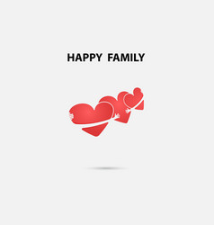 heart signs and happy family logo design vector image