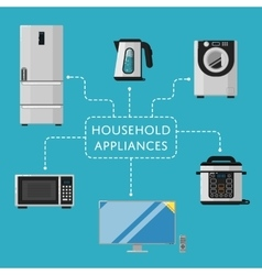 Household appliances banner with electro technics vector image