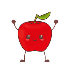 Kawaii apple fruit image vector