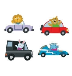 Kids cars transport with cute cartoon animals vector