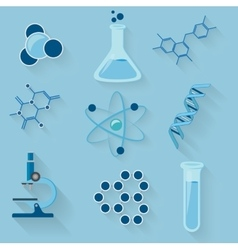 Laboratory workspace elements icons vector image