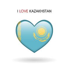 love kazakhstan symbol flag heart glossy icon on vector image vector image