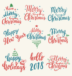 merry christmas happy new year set of hand drawn vector image vector image