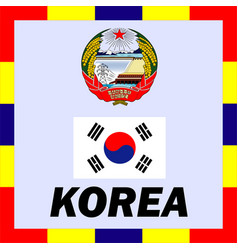 Official ensigns flag and coat of arm of korea vector