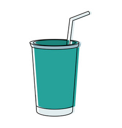 Plastic cup soda cold beverage straw vector