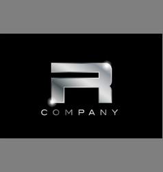 R silver metal letter company design logo vector