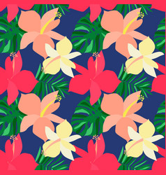 seamless tropical flower pattern vector image