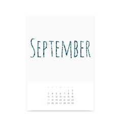 September 2017 Calendar Page vector image