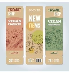 Set of banners with organic vegetables vector image vector image
