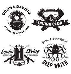 Set of scuba diving club and diving school badges vector