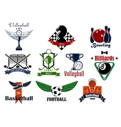 Sports club or team emblems and icons vector image vector image