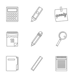 stationery icon set outline style vector image vector image