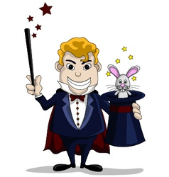 The magician pulls out a rabbit from a hat vector image