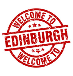 Welcome to edinburgh red stamp vector