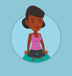 Woman meditating in yoga lotus pose vector