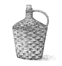 Wine old traditional braided bottle hand drawn vector