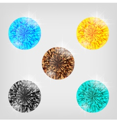 Set of five colored diamonds vector