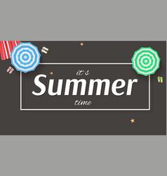 Summer background banner with sun umbrellas vector