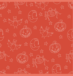 Seamless halloween pattern with cartoon characters vector