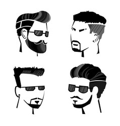 Sketch monochrome male hipster faces set vector