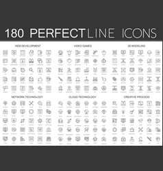 180 modern thin line icons set of web development vector