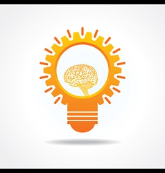 Creative idea concept-lightbulb with gear and mind vector