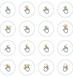 Set of thin line touch gestures icons vector