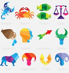Set of zodiac horoscope signs vector