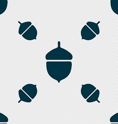 Acorn icon sign seamless pattern with geometric vector