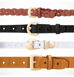 Set of multicolored buttoned to buckle belts vector