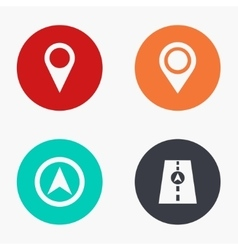 Modern map pointer colorful icons set vector
