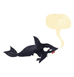 Cartoon killer whale with speech bubble vector