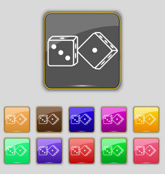 Dices icon sign set with eleven colored buttons vector