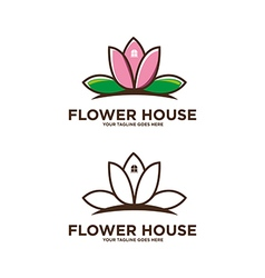 Flower house logo vector
