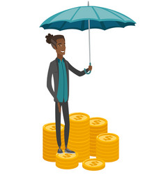 African business insurance agent with umbrella vector