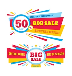 Big sale banner - discount 50 off vector
