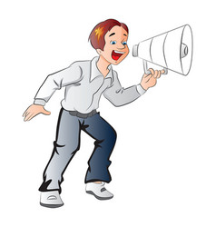 boy using a megaphone vector image vector image