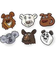 Cartoon bears heads set vector image