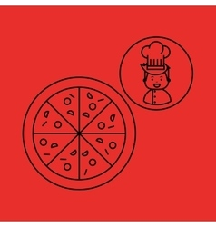 Cartoon chef gourmet pizza italian vector